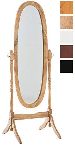 CLP Miroir sur Pieds Cora Oval avec Cadre en Bois I Miroir Inclinable I Miroir De Chambre/Couloir/Salle de Bain Nature