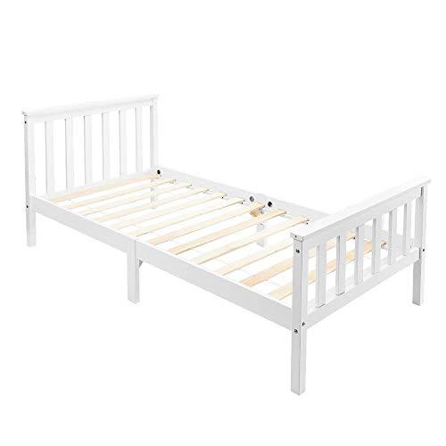 Estructura de cama individual de madera con somier y cabecero, 90 x 190 cm, madera maciza de pino macizo, color blanco