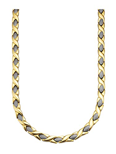 Magnetic Balance Collar con 4 imanes, 8000 gauss, ancho aprox. 6 mm, longitud 46 cm, cierre plegable bicolor titanio