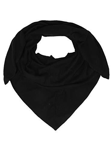 Zwillingsherz Dreieckstuch mit Kaschmir - Hochwertiger Schal im Uni Design für Damen Jungen und Mädchen - XXL Hals-Tuch und Damenschal - Strick-Waren für Sommer und Winter - 150cm x 120cm - schwarz