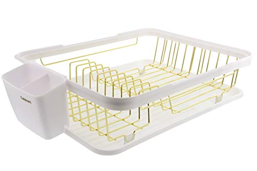 Cuisinart - Escurreplatos de alambre con tabla de drenaje, incluye estante de secado de platos de alambre, bandeja de utensilios y tabla de drenaje desmontable, 48 x 32 x 11 cm, color blanco y dorado