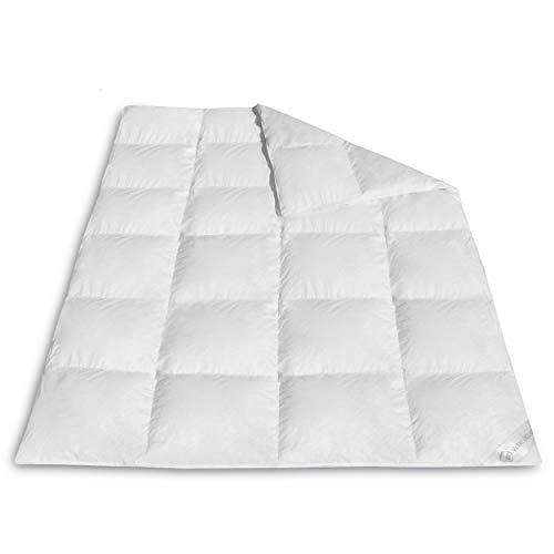 VitaloBett Ganzjahresdecke Daunendecke medium – Daunenbettdecke 1000g, 100% canadische Daunen Decke, Steppdecke Wärmeklasse 3, Schlafdecke 4 Jahreszeiten Bettdecke 155 x 200 cm