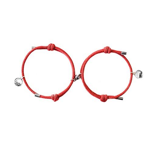 Meiyan Pulsera de cuerda trenzada ajustable con hebilla magnética para parejas