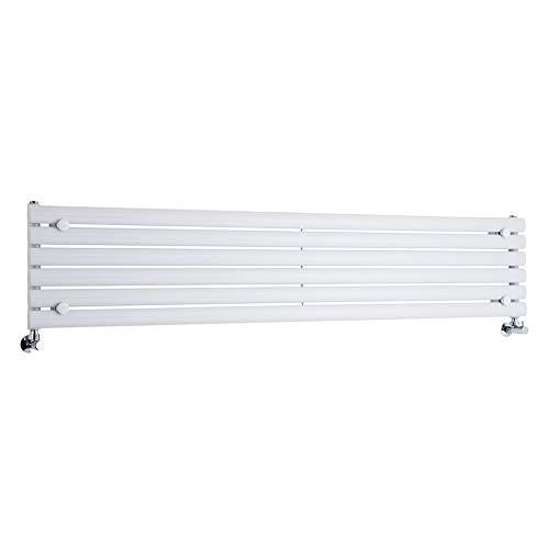 Hudson Reed Heizkörper Revive - 354 mm x 1780 mm - horizontale Design Heizung aus Stahl - Oberfläche in Weiß