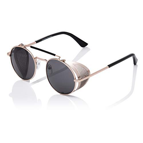 UltraByEasyPeasyStore Gafas de Sol Protección Lateral Retro Steampunk Dorada con Lentes Negros Hombres Gafas Metálicas Góticas Circulares Cosplay Unisex Protección UV400