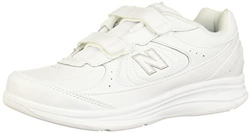 New Balance Women's 577 V1 Hook and Loop Walking Shoe, White/White, 8 W US