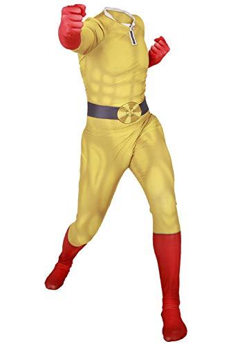RedJade Punch-Man Saitama Uniform Jumpsuit Overall Bodysuit Outfit Cosplay Kostüm Herren S