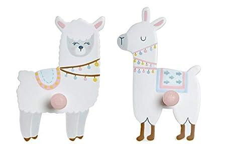 Perchero Colgador habitación Infantil/bebé para Pared MDF 9X4,5X14 Pareja de Llamas (2 uds)
