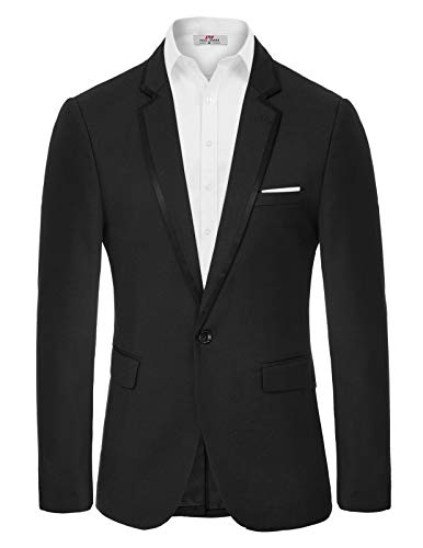 Mens Casual Two Button Suit Jacket Single Breasted Modern Wedding Tux Blazer US Size 34 (Label Size XL) Black