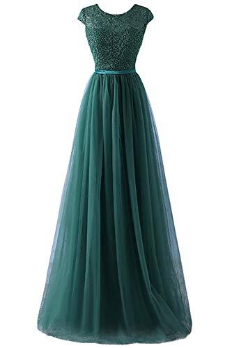 MisShow Damen Elegant Tüll Herzform Abendkleid Ballkleid mit Spitze lang Royal Blau 32