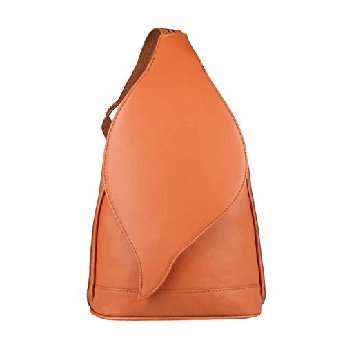 OBC Made in Italy Damen echt Leder Rucksack Lederrucksack Tasche Schultertasche Ledertasche Nappaleder Handtasche (Cognac)