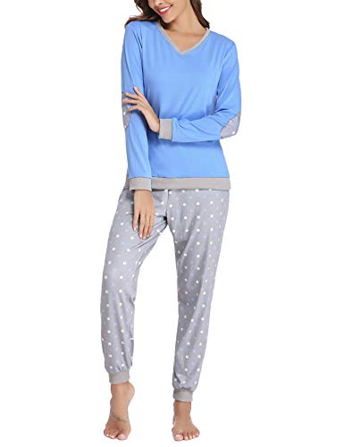 Hawiton Pijama Invierno Mujer Algodon Mangas Larga Pantalon Largo Encaje 2 Piezas Talla Grande