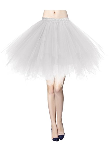 Gardenwed Tutu Tüllrock Damen 50er Rockabilly Petticoat Tutu Unterrock Vintage Ballet Blase Tanzkleid Ballkleid Abendkleid Gelegenheit Zubehör White L