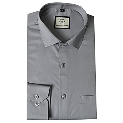 Ketos Smart Fit Solid Grey Formal Shirt for Men