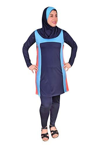 Egypt Bazar Ganzkörper islamischer Badeanzug im Burkini Stil muslimischer Schwimmanzug Hijab (36-38 (S), Nachtblau)