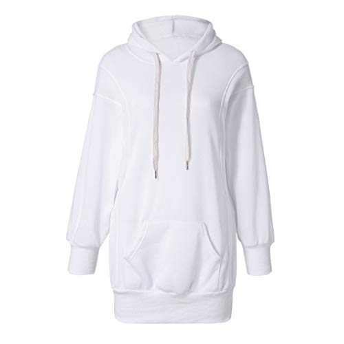 Sale Women Hoodies TUDUZ Ladies Fashion Solid Color Baggy Long Hooded Sweatshirt Loose fit Front Pocket Pullover Hoody Coat WhiteMUK16