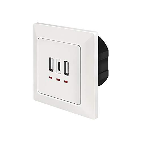 LogiLink PA0254 - Unterputz Dose mit 2X USB-A & 1x USB-C zum gleichzeitigen Laden von bis zu 3 Geräten