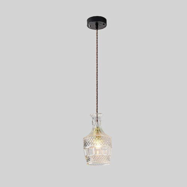 Pendelleuchte,1-Leuchten Creative Glass Weinflasche Leuchter Northern Europen Single Head Glass Ceiling Pendelleuchte Restaurant Küche E27 Dekoration-Lampe