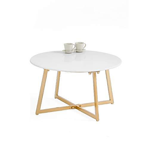 FEI Table multifonctionnelle Table basse ronde avec base en X pour salon Canapé côté chambre Restaurant Table de loisirs Table à thé (Couleur : Blanc, taille : L)