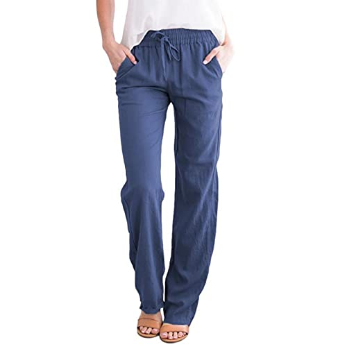 Kishan Bedding Women's Loose Fit Lounge Pants Summer Beach Casual Elastic Waist Drawstring Trousers with Pockets Blue