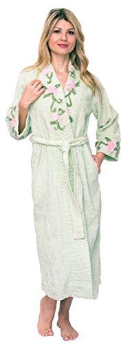 Bath & Robes Damen Bademantel aus Chenille - Grün - 3X Mehr