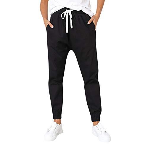 Hosen Damen elegant,Women Frauen Casual Solid Straight Leg Hosen Bund Bandage Mid-Taille Hosen (Schwarz, S)