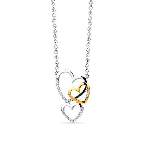 Miore Kette Damen 0.12 Ct Diamant Halskette mit Anhänger 3 Herzen mit Diamanten Brillanten Bicolor Kette aus Weißgold und Gelbgold 14 Karat / 585 Gold, Halsschmuck 45 cm lang