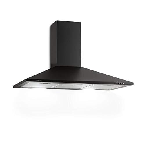 Klarstein Zugspitze 90 Campana extractora - Extractor de pared, Extractor de humos, 65 W, Absorción de 310m³/h, Ventilación y absorción, Iluminación LED de la cocina, Filtro de grasa, Negro