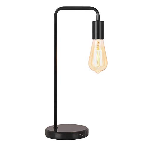 Industrial Table Lamp for Living Room, Black Bedside Lamp Bedroom Nightstand Lamp Retro Style Minimalist Edison Bulb Perfect Bed Room Light for Office, Push Switch with Marble Base - Black