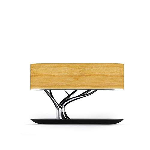 Lievevt Lámpara Escritorio Lámpara de Mesa de lámpara, cargamento inalámbrico de teléfono móvil, Audio Bluetooth, lámpara de decoración de la cabecera de Madera Maciza (286 * 150 * 183mm)