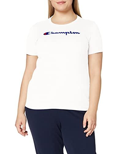Champion Mujer - Camiseta Classic Logo - Blanco, M