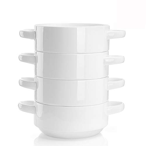 Porcelain Soup Bowls with Handles - 20 Ounce (different colors available)
