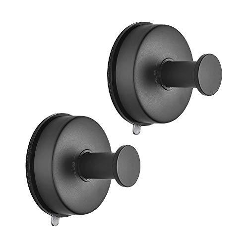 JOMOLA 2 ganchos de acero inoxidable para toallas de baño, con ventosa, para almacenamiento de toallas, utensilios de cocina, ganchos de ventosa, color negro mate