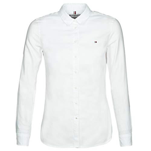 Tommy Hilfiger Damen JENNA SHIRT LS W2 Hemdbluse, Weiß (Classic White 100), 38 (Herstellergröße: 8)