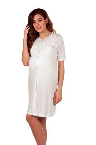 Premamy - Klinisches Shirt für Mutterschaft, offene Front Kleid, Jersey Baumwolle, prä-Post-Partum - Weiß - VII (XXL)
