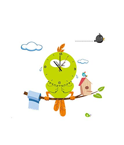 YAOJU Uhren fürs Kinderzimmer, Kinder Wanduhr Wanddekoration Uhren fürs Kinderzimmer,Uhr ohne Tickgeräusche,KInderzimmer mit Wandtattoo - Vogel
