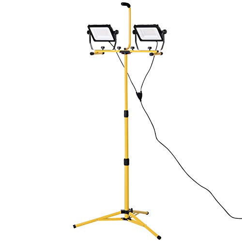 HOMCOM 14,000 Lumen LED Work Lights Dual Head Weather Resistant with Tripod Stand