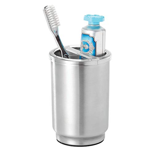 Price comparison product image iDesign Austin Toothbrush Case,  Stainless Steel and Plastic Toothbrush Stand with Cover,  Regular and Electric Toothbrush Holder,  Silver
