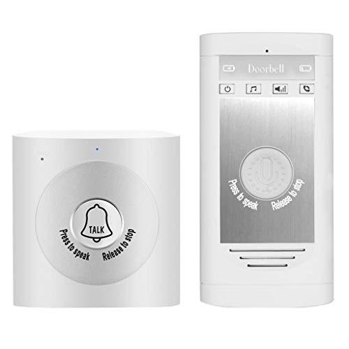 Fenteer Funk Türsprechanlage Türklingel Kabellose Gegensprechanlage mit einstellbarer Lautstärke - Weiß Silber