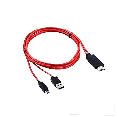 Naisedier USB/Micro a la Cuerda del Cable HDMI Micro USB al Adaptador del Cable de HDMI 1080P HDTV para Samsung Galaxy S5 6.5 pies Rojos 1pc, componentes y Accesorios periféricos de Ordenador