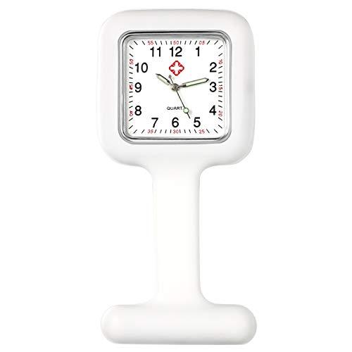 Lancardo Reloj Enfermera con Cubierta Silicona Cuadrada Reloj de Bolsillo Médico de Movimiento Cuarzo NO Impermeable Reloj con Dial de Báscula Digital Blanco