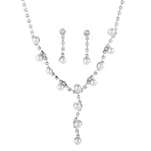 osyare Conjunto De Joyas De Collar Y Pendientes, Conjunto De Pendientes De Botón De Collar con Colgante De Perlas De Imitación De Diamantes De Imitación De Moda para Mujer para Fiesta Plata