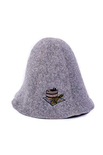 Ger3as Saunahut Wolle mit Stickerei für Damen und Herren, Wellness Mütze Premium Qualität (Bad Saunakübel)