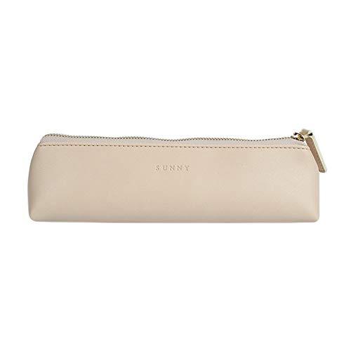 Fyore - Estuche de piel de lujo, diseño delgado con cremallera metálica, tamaño de bolsillo para bolígrafo y brocha de maquillaje, color beige 20*5*4.4cm