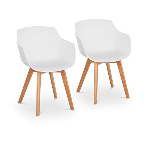 Fromm & Starck STAR_SEAT_17 Stuhl 2er Set bis 150 kg Sitzfläche 41 x 40 cm weiß Kunststoffstuhl Stuhlbeine Buchenholz
