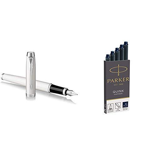 PARKER IM, pluma estilográfica lacada en blanco, con plumín fino y recambio de tinta azul (1931672) + Quink recambios para plumas estilográficas, cartuchos largos, tinta azul o negra, caja de 5