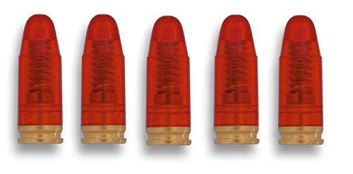 KOSxBO *5er-Set* Pufferpatronen 9 mm Luger/para (9x19mm) aus Kunststoff und Metall, rot transparent