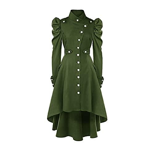 sujinxiu Vestido gótico para mujer, disfraz medieval con mangas abullonadas, gabardina renacentista irlandesa, vestido victoriano para Halloween, Cosplay