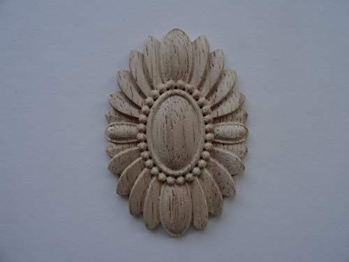 Moulure décorative de type applique centrale, ornement en bois oval DF3