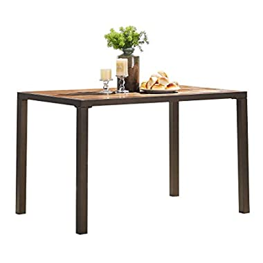 """O&K Furniture 48"""" Large Vintage Rectangular Dining Table, Wood and Metal Computer Desk, Industrial Style Study Writing Table for Home Office School, 1-PC"""